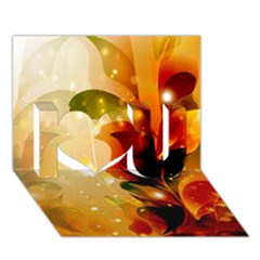 Awesome Colorful, Glowing Leaves  I Love You 3D Greeting Card (7x5)