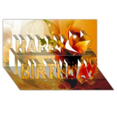Awesome Colorful, Glowing Leaves  Happy Birthday 3d Greeting Card (8x4)  by FantasyWorld7