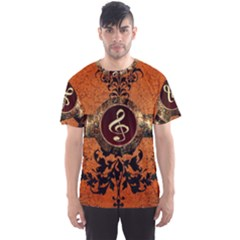 Wonderful Golden Clef On A Button With Floral Elements Men s Sport Mesh Tees by FantasyWorld7