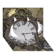 Steampunk, Awesome Clocks With Gears, Can You See The Cute Gescko Heart 3d Greeting Card (7x5)  by FantasyWorld7