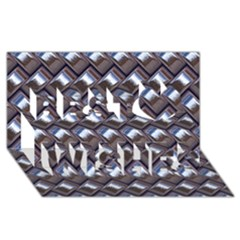 Metal Weave Blue Best Wish 3d Greeting Card (8x4)  by MoreColorsinLife