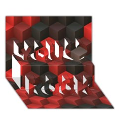 Artistic Cubes 7 Red Black You Rock 3d Greeting Card (7x5)  by MoreColorsinLife