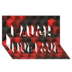 Artistic Cubes 7 Red Black Laugh Live Love 3d Greeting Card (8x4)  by MoreColorsinLife