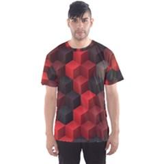 Artistic Cubes 7 Red Black Men s Sport Mesh Tees by MoreColorsinLife