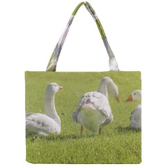 Group Of White Geese Resting On The Grass Tiny Tote Bags by dflcprints