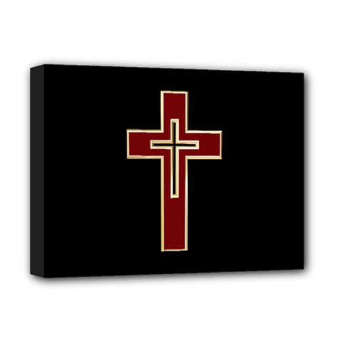 Red Christian Cross Deluxe Canvas 16  X 12  (stretched)  by igorsin