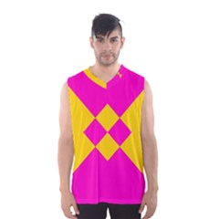 Yellow Pink Shapes Men s Basketball Tank Top