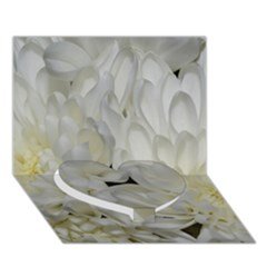 White Flowers 2 Heart Bottom 3d Greeting Card (7x5)  by timelessartoncanvas