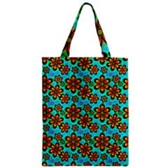 Neon Retro Flowers Aqua Zipper Classic Tote Bags