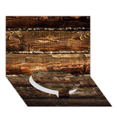 Dark Stained Wood Wall Circle Bottom 3d Greeting Card (7x5)