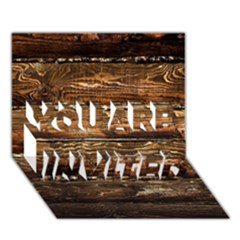 Dark Stained Wood Wall You Are Invited 3d Greeting Card (7x5)  by trendistuff