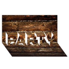 Dark Stained Wood Wall Party 3d Greeting Card (8x4)
