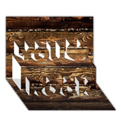 Dark Stained Wood Wall You Rock 3d Greeting Card (7x5)  by trendistuff
