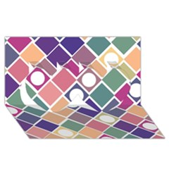 Dots And Squares Twin Hearts 3d Greeting Card (8x4)  by Kathrinlegg