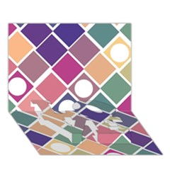 Dots And Squares Love Bottom 3d Greeting Card (7x5)  by Kathrinlegg