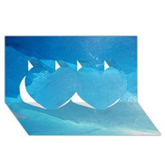 Light Turquoise Ice Twin Hearts 3d Greeting Card (8x4)
