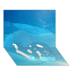 Light Turquoise Ice Love Bottom 3d Greeting Card (7x5)