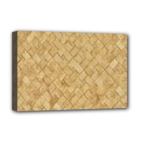 Tan Diamond Brick Deluxe Canvas 18  X 12   by trendistuff