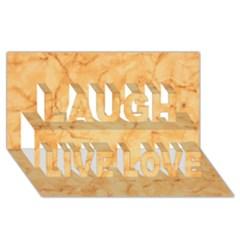 Marble Light Tan Laugh Live Love 3d Greeting Card (8x4)  by trendistuff