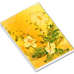 Wonderful Soft Yellow Flowers With Dragonflies Large Memo Pads by FantasyWorld7