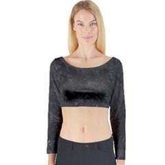 BLACK MARBLE Long Sleeve Crop Top by trendistuff