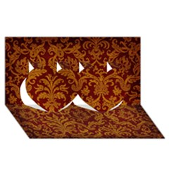 Royal Red And Gold Twin Hearts 3d Greeting Card (8x4)