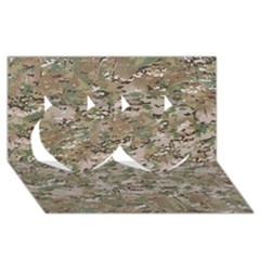 Camo Woodland Faded Twin Hearts 3d Greeting Card (8x4)  by trendistuff