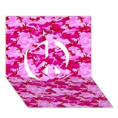 Camo Pink Peace Sign 3d Greeting Card (7x5)