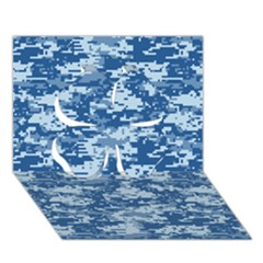 Camo Digital Navy Clover 3d Greeting Card (7x5)  by trendistuff