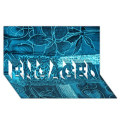 Blue Patchwork Engaged 3d Greeting Card (8x4)