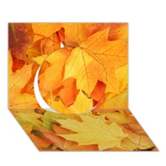 Yellow Maple Leaves Circle 3d Greeting Card (7x5)  by trendistuff