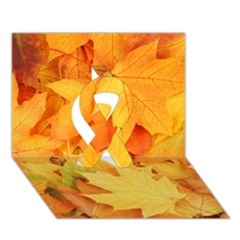 Yellow Maple Leaves Ribbon 3d Greeting Card (7x5)  by trendistuff