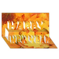 Yellow Maple Leaves Happy New Year 3d Greeting Card (8x4)  by trendistuff