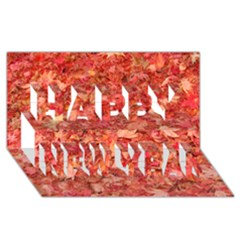 Red Maple Leaves Happy New Year 3d Greeting Card (8x4)  by trendistuff