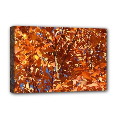 ORANGE LEAVES Deluxe Canvas 18  x 12   by trendistuff