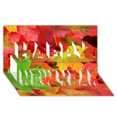 Autumn Leaves 1 Happy New Year 3d Greeting Card (8x4)  by trendistuff