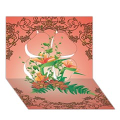 Awesome Flowers And Leaves With Floral Elements On Soft Red Background Clover 3d Greeting Card (7x5)  by FantasyWorld7