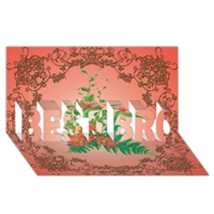 Awesome Flowers And Leaves With Floral Elements On Soft Red Background Best Bro 3d Greeting Card (8x4)  by FantasyWorld7