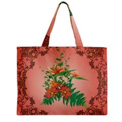 Awesome Flowers And Leaves With Floral Elements On Soft Red Background Tiny Tote Bags by FantasyWorld7