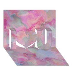 Soft Floral Pink I Love You 3D Greeting Card (7x5)  by MoreColorsinLife