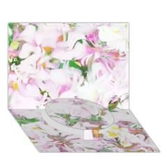Soft Floral, Spring Circle Bottom 3D Greeting Card (7x5)