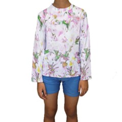 Soft Floral, Spring Kid s Long Sleeve Swimwear by MoreColorsinLife