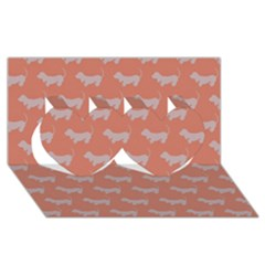 Cute Dachshund Pattern In Peach Twin Hearts 3d Greeting Card (8x4)