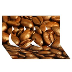 Chocolate Coffee Beans Twin Hearts 3d Greeting Card (8x4)  by trendistuff