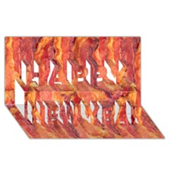 Bacon Happy New Year 3d Greeting Card (8x4)  by trendistuff
