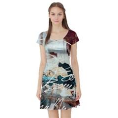 Abstract 1 Short Sleeve Skater Dresses by trendistuff
