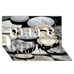 Foreign Coins Merry Xmas 3d Greeting Card (8x4)