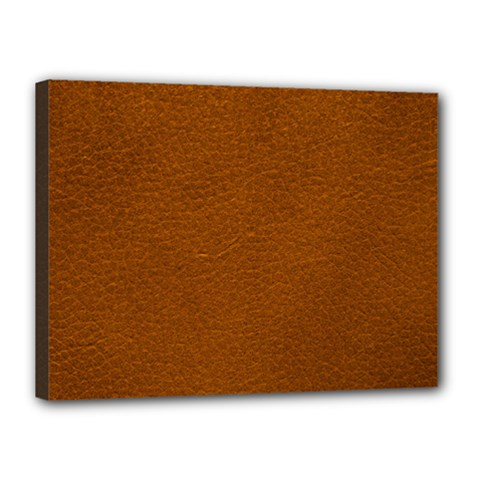 Brown Leather Canvas 16  X 12  by trendistuff