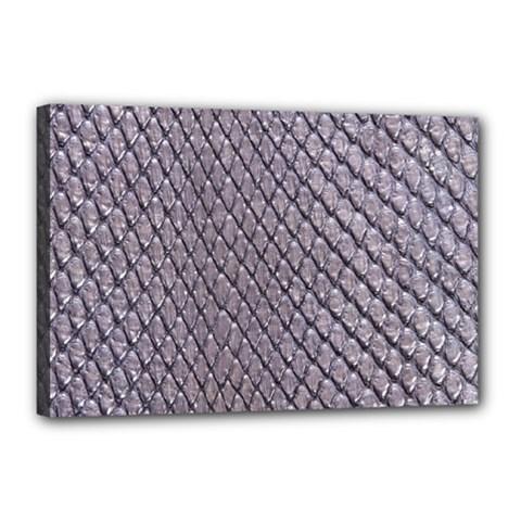 Silver Snake Skin Canvas 18  X 12  by trendistuff