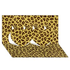 Leopard Fur Twin Hearts 3d Greeting Card (8x4)  by trendistuff